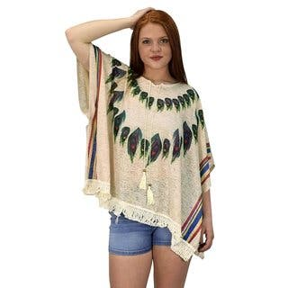 Peach Couture Women's Peacock Lightweight Summer Cover Up (Option: Beige)|https://ak1.ostkcdn.com/images/products/16797588/P23102607.jpg?impolicy=medium