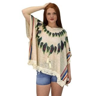Peach Couture Women's Peacock Lightweight Summer Cover Up