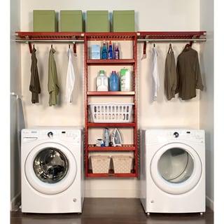 John Louis Home 12in deep 10ft. Laundry Organizer Red Mahogany