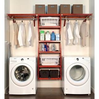 John Louis Home 16in deep 10ft. Laundry Organizer Red Mahogany
