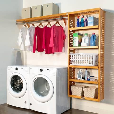 John Louis Home 12in deep 8ft. Laundry Organizer Honey Maple