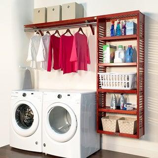 John Louis Home 12in deep 8ft. Laundry Organizer Red Mahogany