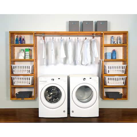 John Louis Home PREMIUM 12in deep 10ft. Laundry Organizer Honey Maple