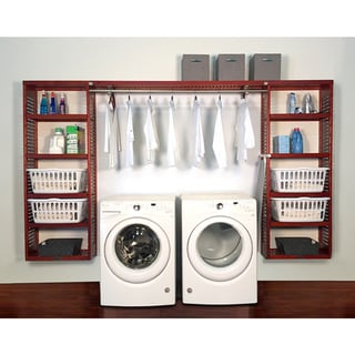 John Louis Home PREMIUM 12in deep 10ft. Laundry Organizer Red Mahogany