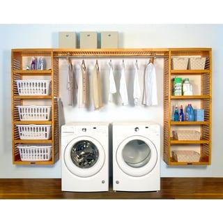 John Louis Home PREMIUM 16in deep 10ft. Laundry Organizer Honey Maple
