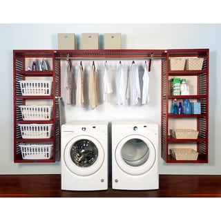 John Louis Home PREMIUM 16in deep 10ft. Laundry Organizer Red Mahogany