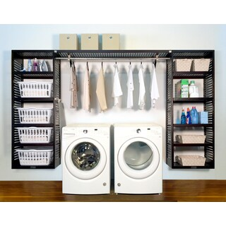 John Louis Home PREMIUM 16in deep 10ft. Laundry Organizer Espresso