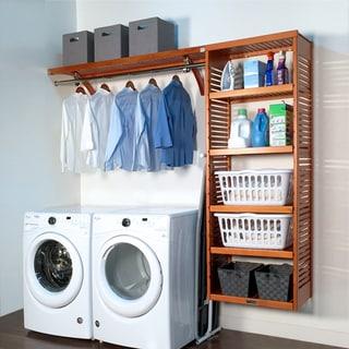 John Louis Home 16in deep 8ft. Laundry Organizer Caramel