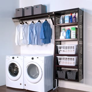 Espresso Finish Solid Wood Laundry Organizer