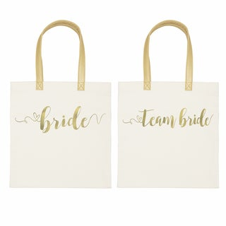 Gold Foil Bride + Team Bride Wedding Canvas Tote