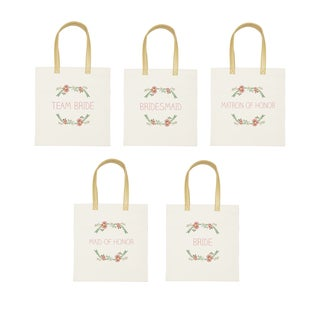 Wedding Day Floral Canvas Tote