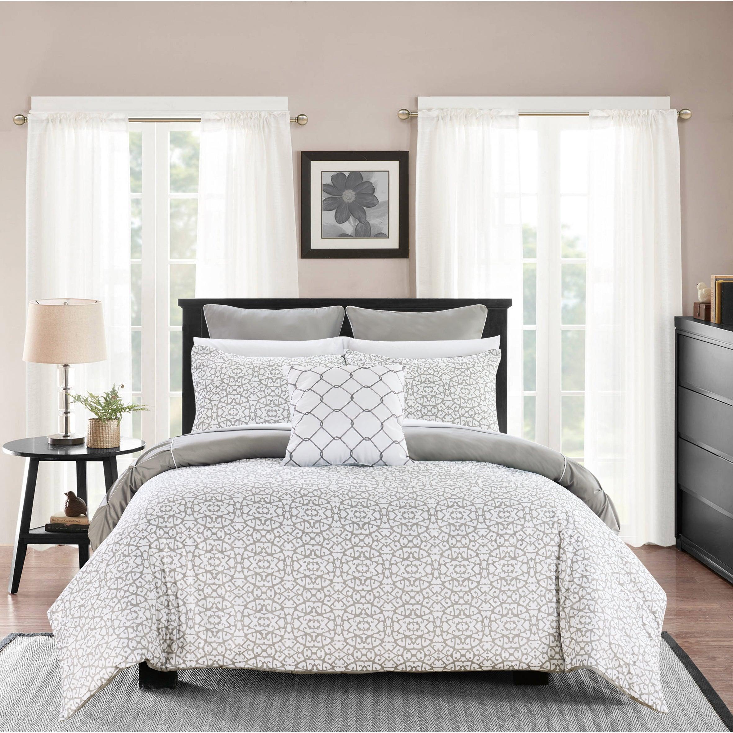 BEAUTIFUL MODERN CHIC RUFFLE BLACK GREY WHITE PINTUCK COMFORTER SET KING /& CAL K