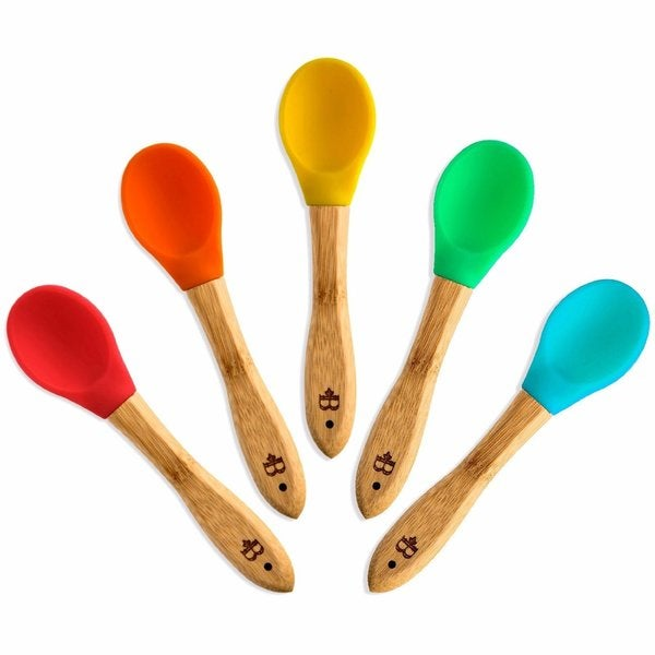 Bambusi Baby Spoons w/ Flexible BPA-Free Silicone Tips by Belmint