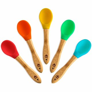Bamboo Spoons with Flexible BPA-Free Silicone Tips