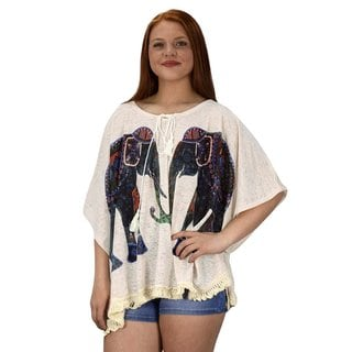 Peach Couture Elephant Print Tasseled Lightweight Summer Cover Up