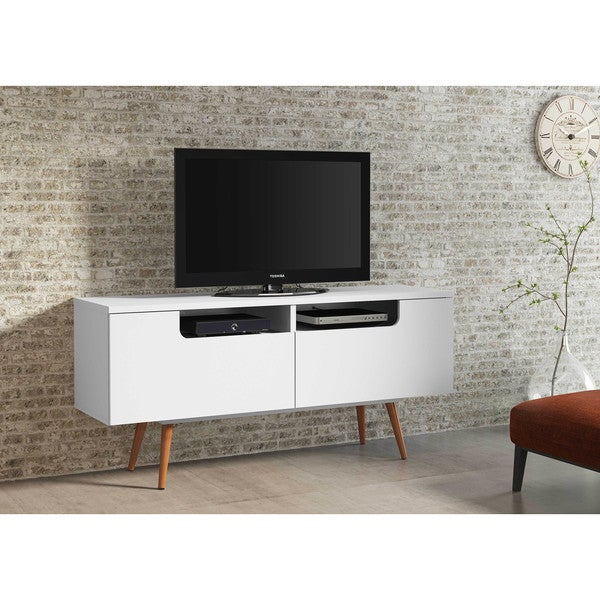 Shop Ideaz International Jensen White Satin Wood Tv Stand On Sale