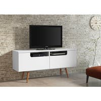 Ideaz International Jensen White Satin Wood TV Stand