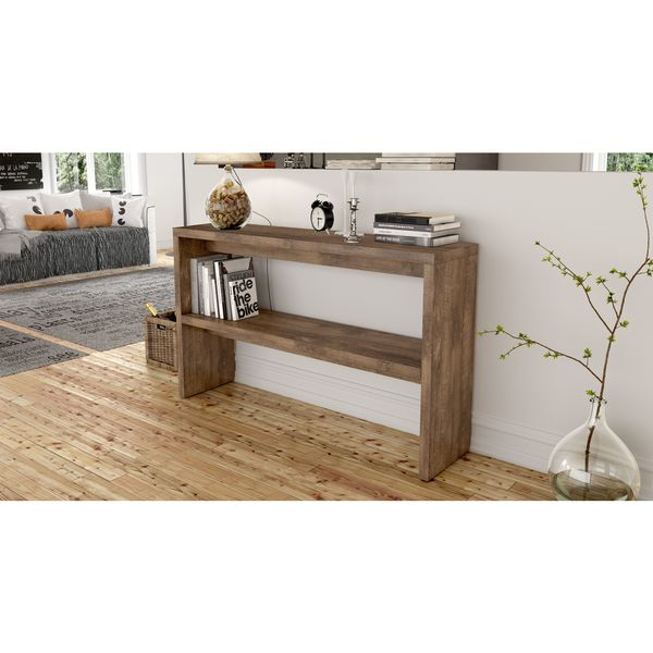 Midtown Concept Barcelona Mid Century Distressed 2 Shelf Console Table
