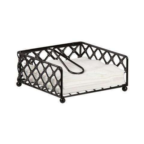 Home Basics Black Lattice Napkin Holder Flat