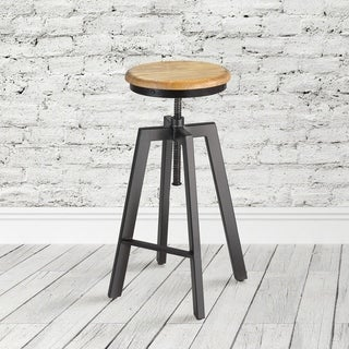 Mid Century Wood Adjustable Armless Barstool