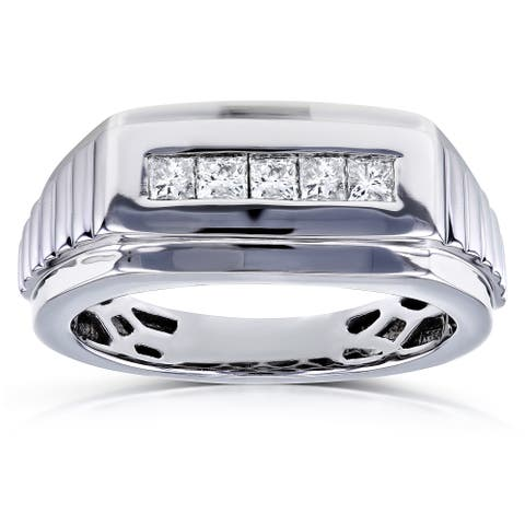 Annello by Kobelli 10k White Gold 1/2ct TDW Square-cut Diamond Men's Ring (H-I, I2)