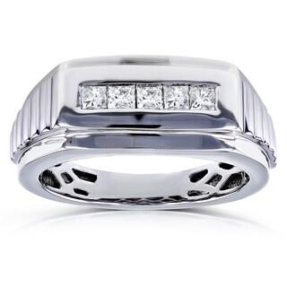 Annello by Kobelli 10k White Gold 1/2ct TDW Square-cut Diamond Men's Ring (H-I, I2)