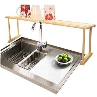 Home Basics Oak Wood Over the Sink Shelf