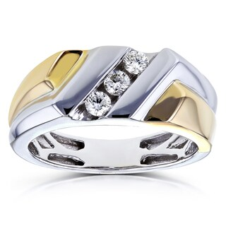 Annello by Kobelli 10k Two Tone Gold 1/4ct TDW Round-cut Diamond Men's Ring (H-I, I2) (More options available)