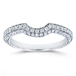 Annello by Kobelli 14k White Gold 1/2ct TDW Diamond Notched Contour Wedding Ring (G-H, I1-I2)