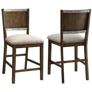 Wine Barrel Industrial Design Counter Height Dining Stools (Set of 2)