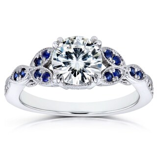 Annello by Kobelli 14k White Gold 1 1/5ct TCW Forever One Colorless (DEF) Moissanite with Diamond and Sapphire Floral Ring