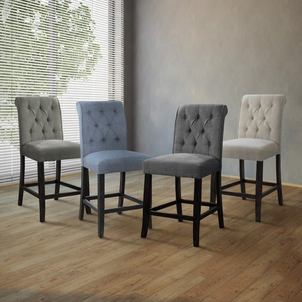 Furniture of America Sheila Contemporary Button Tufted Chenille Counter Height Chair (Set of 2)
