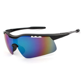Men's Mirror Lens Cycling Fishing Baseball Sport Wrap Sunglasses (Option: Red)