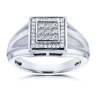 Annello by Kobelli 10k White Gold 1/2ct TDW Square Frame Invisible Diamond Men's Ring (H-I, I2)