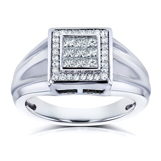 Annello by Kobelli 10k White Gold 1/2ct TDW Square Frame Invisible Diamond Men's Ring (H-I, I2) (More options available)