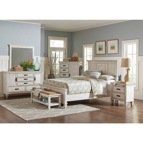 Madeline Antique White and Grey Wood and Dark-gunmetal-finished Metal  5-piece Bedroom Set