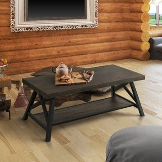Furniture of America Reynolds Rustic Industrial Two-Tone Medium Weathered Oak/Black Coffee Table