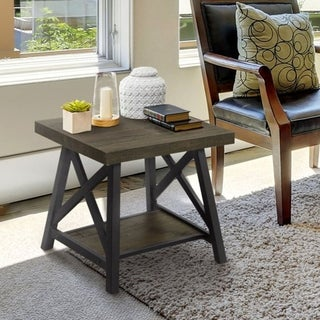 Furniture of America Reynolds Rustic Industrial Two-Tone Medium Weathered Oak/Black End Table