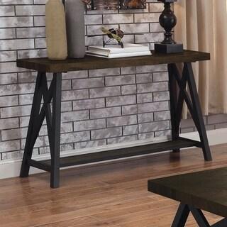 Furniture of America Fevo Industrial Oak X-shape Design Sofa Table
