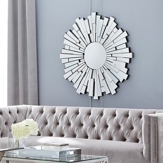 Round Silver Sunburst 40 in Dia Contemporary Wall Mirror