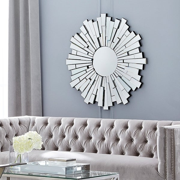 Completely new Round Silver Sunburst 40 in Dia Contemporary Wall Mirror - Free  CL53