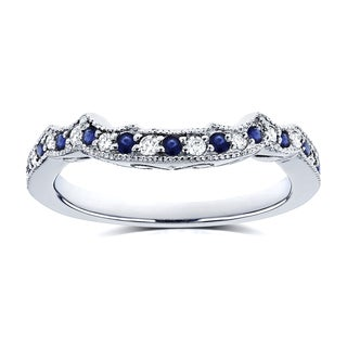Annello by Kobelli 14k White Gold 1/5ct TCW Sapphire and Diamond Contour Wedding Ring (G-H, I1-I2)