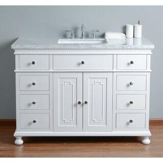 Stufurhome Abigail Embellished 48 in.White Single Sink Bathroom Vanity