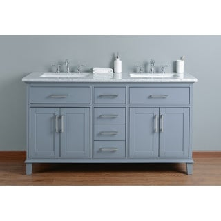 Stufurhome Leigh 60 in. Grey Double Sink Bathroom Vanity