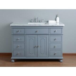 Stufurhome Abigail Embellished 48 in. Grey Single Sink Bathroom Vanity