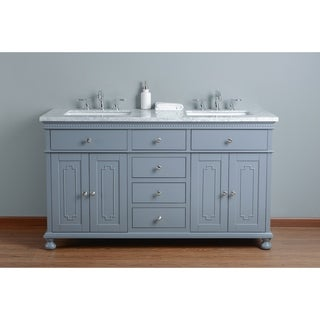 Stufurhome Abigail Embellished 60 In. Grey Double Sink Bathroom Vanity