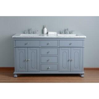 Stufurhome Abigail Embellished 60 in. Grey Double Sink Bathroom Vanity