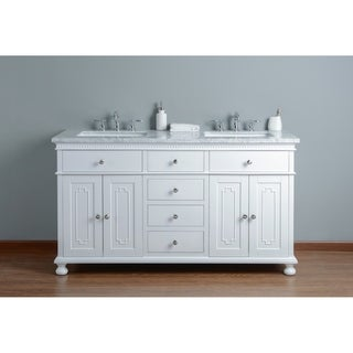 Stufurhome Abigail Embellished 60 in.White Double Sink Bathroom Vanity