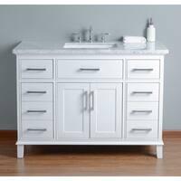 Stufurhome Leigh 48 in. White Single Sink Bathroom Vanity