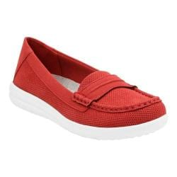 Women's Clarks Jocolin Maye Penny Loafer Red Perforated Textile